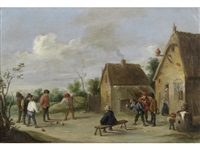 figures playing boule outside an inn by david teniers the younger