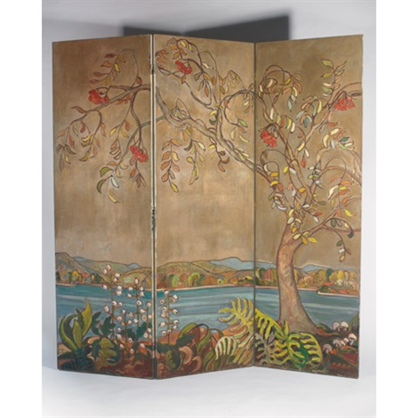 laurentian scene autumn a double sided three panel folding screen by nora frances elisabeth collyer