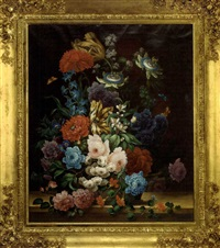 summer flowers in an urn, with butterflies by samuel astles