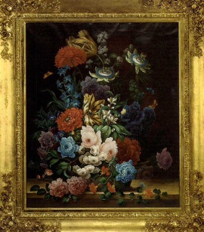 summer flowers in an urn with butterflies by samuel astles