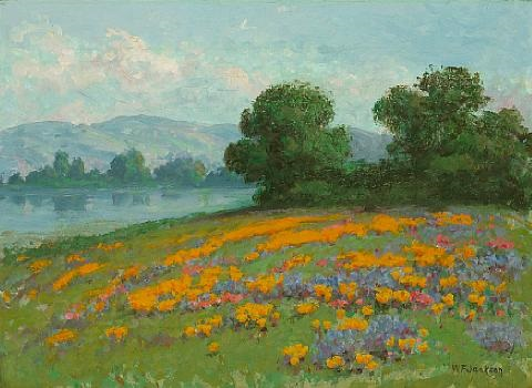 california landscape with wildflowers by william franklin jackson