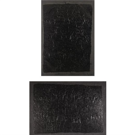 100 layers of ink (diptych) by yang jiechang