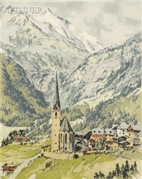 the alpine valley (+ winter on the hill; 2 works) by hans figura