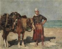 femme et cheval by justin (joseph marie j.) gabriel