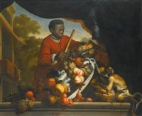 a still life with a monkey upsetting a bowl of fruit by anglo-dutch school (18)