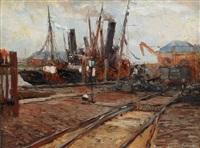 hamburg harbour by leonhard sandrock
