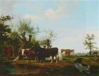 cattle in landscape by friedrich karl joseph simmler