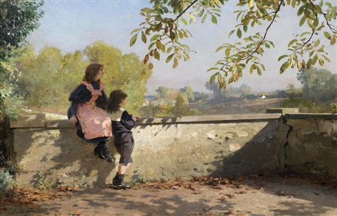 On the terrace by Louis Emile Adan on artnet