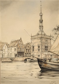 accijnstoren in alkmaar by anton pieck