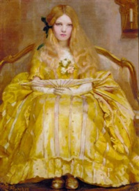 portrait of a girl in a yellow dress, holding a fan, in an interior by margaret fletcher