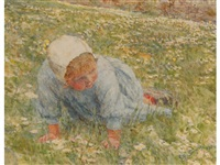 child kneeling down in a meadow by lionel percy smythe