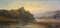 mountain river landscape with figures (+ castle by river with figures and cattle; pair) by william mcevoy