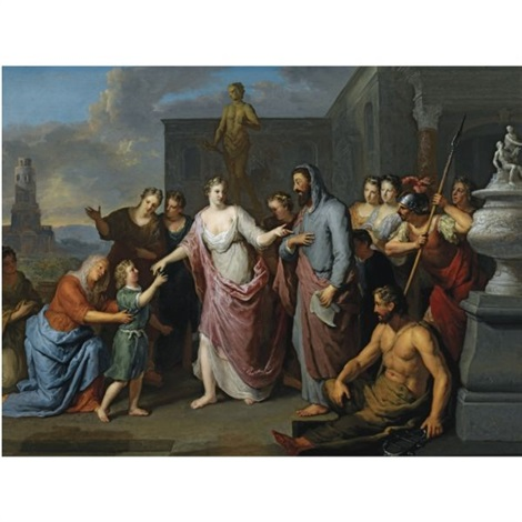 olympia presenting the young alexander the great to aristotle by gerard hoet the elder