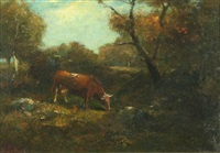 cows in the wooded landscape by george f. fuller