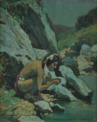 indian drinking, moonlight by eanger irving couse