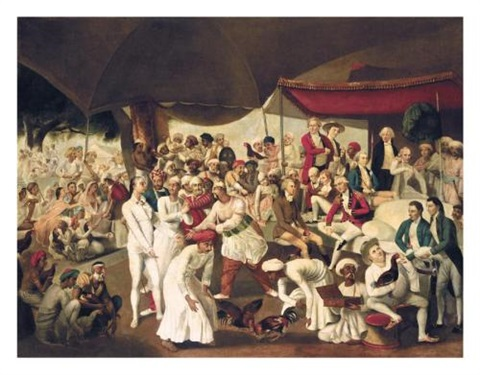 colonel mordaunts cockfight at lucknow by johann joseph zoffany