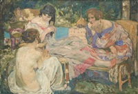 baigneuses jouant aux cartes by fernand allard l'olivier