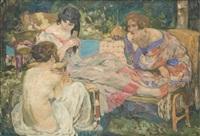 baigneuses jouant aux cartes by fernand allard l'olivier