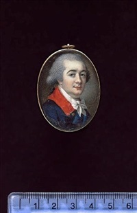 a gentleman, wearing blue coat with red collar, brass buttons and tied white cravat, his hair powdered and worn en queue by samuel cotes