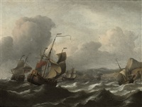 shipping in choppy waters before a hilly mediterranean coast by aernout (johann arnold) smit
