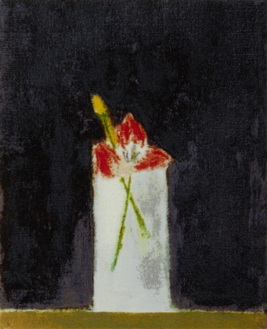 tulips in a glass by craigie aitchison