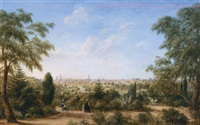 melbourne from the botanic gardens (view of melbourne looking across the yarra from the botanical gardens, with mount macedon in the distance) by henry c. gritten