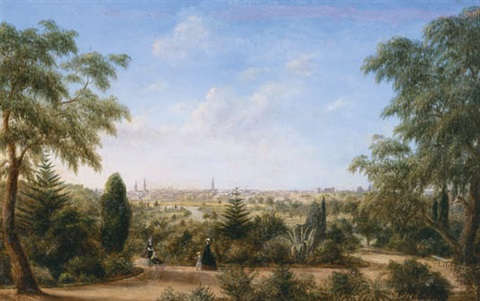 melbourne from the botanic gardens view of melbourne looking across the yarra from the botanical gardens with mount macedon in the distance by henry c gritten