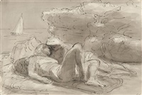 lovers amidst the rocks by edward ardizzone