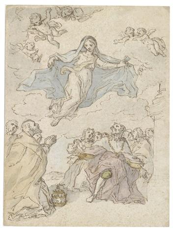 madonna in der glorie vor einem betenden papst einem knienden monarchen und einer menschenmenge by sebastiano conca