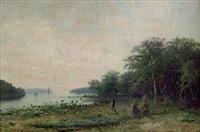 havsvik med båtar, i förgrunden fiskare, sen eftermiddag by edouard alexandre alexis ankarcrona