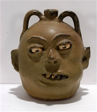 double face rock tooth matte glaze jug by lanier meaders