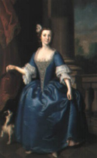portrait of a lady in a blue dress, a spaniel beside her by jeremiah davison
