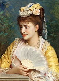 portrait of an elegantly dressed lady with an ivory folding fan by leonardo gasser