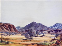 central australian landscape by albert namatjira