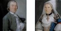 portrait d'homme (+ portrait de femme à la coiffe; pair) by roger