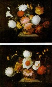 bodegon con cestos de flores sobre una repisa by josé de arellano