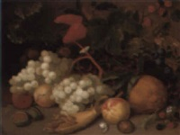 still life with fruit, a snail, caterpillar and butterfly by joseph rhodes