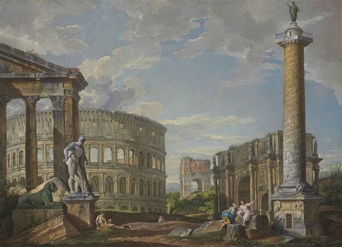 a capriccio of classical ruins with the pronaos of the porticus octaviae, the colosseum, the arch of drusus, the arch of constantine... by giovanni paolo panini
