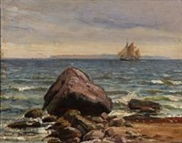 coastal scene with a sailing ship by carl ludvig thilson locher
