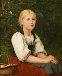 fille rêveuse assise dans un sous-bois by albert anker
