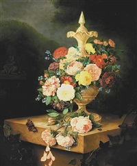 a still life with roses, carnations, forget-me-nots and other flowers by adriana van ravenswaay