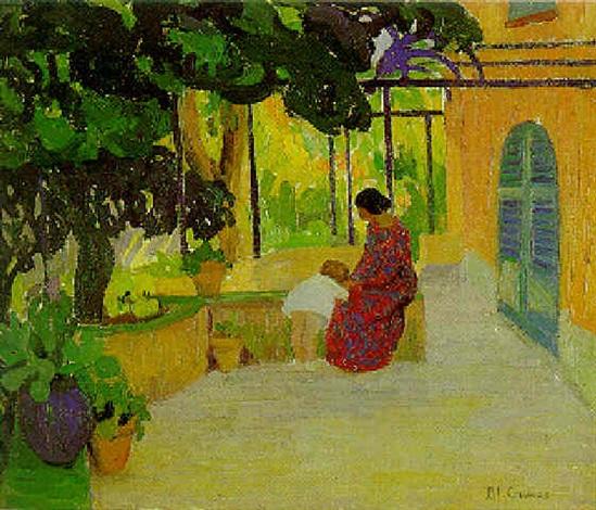 Femme et enfant sur la terrasse ombragée by Blanche Augustine Camus ...