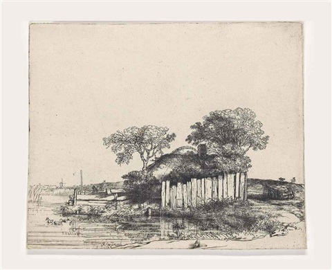 cottage with a white paling by rembrandt van rijn
