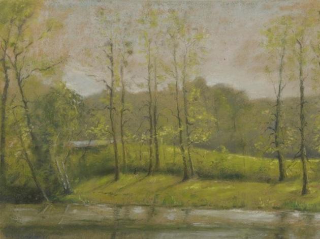 paysage à la rivière by léon augustin l'hermitte