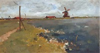 en hollande: windmill by the waterside by jacob ritsema