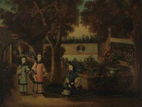 a view of a pleasure garden with three elegant ladies (+ another; pair) by anglo-chinese school (18)