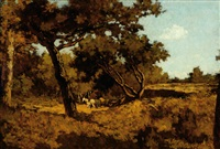 horses in a landscape on the veluwe by antonie louis koster