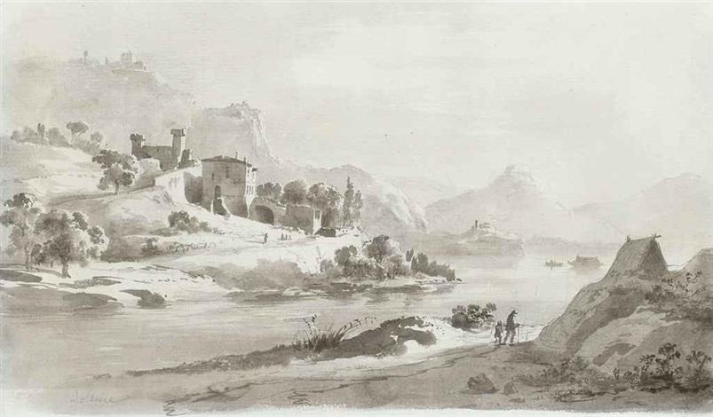 paysage fluvial des habitations sur le rivage esquisse verso by jean jacques de boissieu