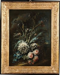 nature morte con fiori ed insetti (pair) by flemish school (19)