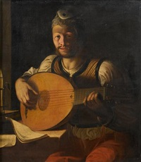 a young man playing a lute by candlelight by angelo caroselli